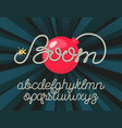 boom - rope alphabet font lettering with bomb vector image