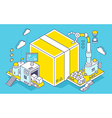 box and three dimensional mechanism with vector image vector image