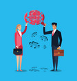 business couple with puzzle pieces in shape speech vector image vector image