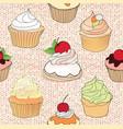 cake pattern cafe menu tile background cupcake vector image