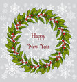 christmas and new year holly tree wreath vector image vector image