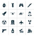 combat icons set collection of weapons fugitive vector image vector image