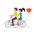 couple in love riding on two-seat bicycle vector image vector image