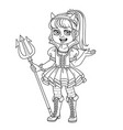 cute girl in succubus costume outlined vector image vector image