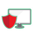 cyber security monitor and shield vector image