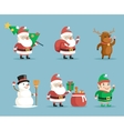 Elf Deer Snowman Santa Claus Cartoon Characters vector image vector image