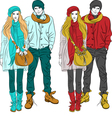 fashion stylish guy and girl in warm cloth vector image vector image