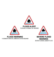 Flood warning signs vector image vector image