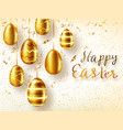 golden eggs realistic easter sale banner vector image