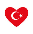 heart in colors and symbols of the turkish flag vector image vector image