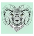 hipster portrait of ram with glasses vector image vector image