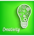 Light paper bulb with gears vector image vector image