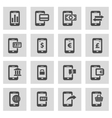 line mobile banking icons set vector image vector image