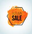 orange watercolor fall sale label vector image vector image