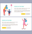 people park mother daughter entertain girl riding vector image vector image