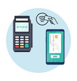 pos nfc payment machine icon nfc terminal card vector image