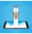 Rocket launched from the phone start up vector image