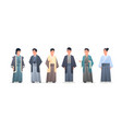 set asian guys wearing traditional clothes smiling vector image vector image
