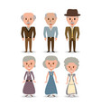 set retro old people with hairstyle vector image vector image