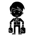 shopping boy with bags icon vector image vector image