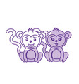 silhouette cute couple monkey wild animal with vector image vector image