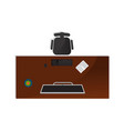 top view home office interior element vector image vector image