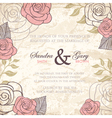 Vintage floral wedding invitation with roses vector image vector image