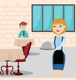 waitress in a restaurant serving male customer vector image