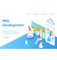 web development isometric landing page vector image vector image