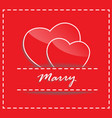 wedding concept of couple paper hearts on red vector image vector image
