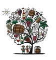 wine tree sketch for your design vector image vector image
