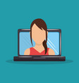 woman with computer laptop vector image vector image