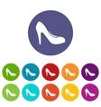 Women shoe with heels set icons vector image vector image