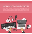 Workplace of music artist vector image
