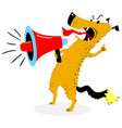 screaming dog the dog barks into the loudspeaker vector image