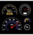 Speedometers Set on Black Background vector image