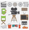 Line flat color icon elements of filmmaking vector image