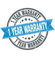 1 year warranty blue round grunge vintage ribbon vector image vector image