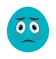 blue cartoon face with sad expression vector image vector image