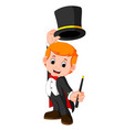 boy magician cartoon vector image vector image