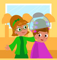 cartoon 60s hairdresser and woman vector image