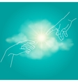 Close up of human hands touching with fingers vector image vector image