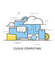 cloud computing data storage web services flat vector image