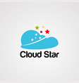 cloud star logo icon element and template vector image