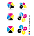 cmyk arrow symbol set vector image