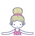 colorful girl dancing ballet with bun hair design vector image