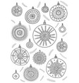 coloring page with christmas baubles in boho style vector image