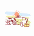 cow stands in clearing with dairy products vector image