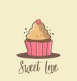 cup cake cartoon background for valentine days vector image