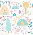 cute plants flat color seamless pattern vector image